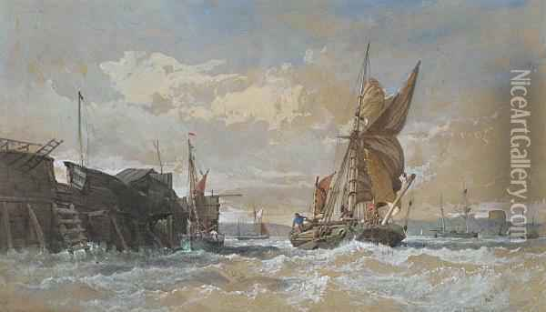 A Ketch-rigged Barge In Choppy Waters In Themedway, With Rochester Castle Beyond Oil Painting - Henry Andrews