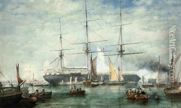 An Emigrant Ship Preparing To Depart Oil Painting - Henry Andrews