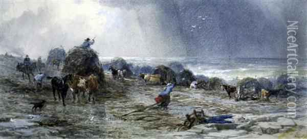 Seaweed Gatherers Along The Coast Oil Painting - Henry Andrews