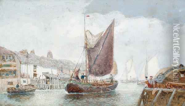 Boats In Harbour Oil Painting - Henry Andrews