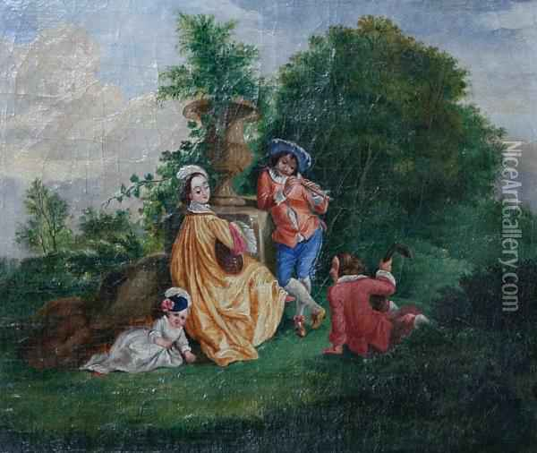 Figures And Young Child In A Garden Oil Painting - Henry Andrews