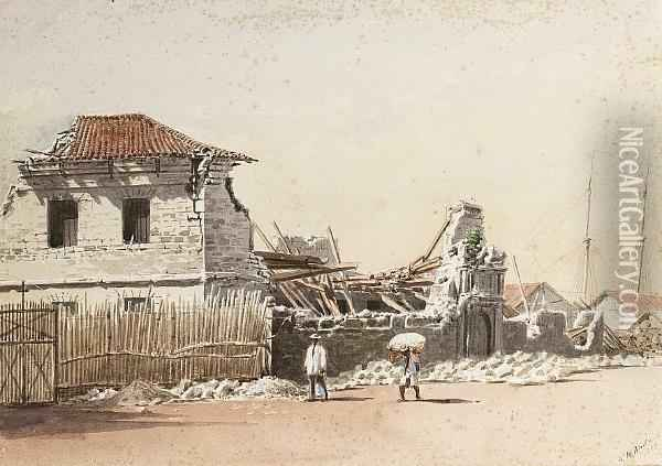 The Government Tobacco Warehouses After The 1863 Earthquake, Manila, Philippines Oil Painting - Henry Charles Andrews