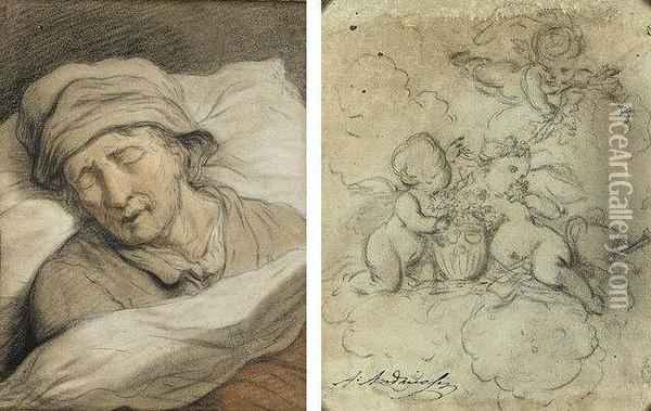 Sleeping Man With Studies Of Putti (#) Sleeping Woman With Studies Oil Painting - Anthony Andriessen
