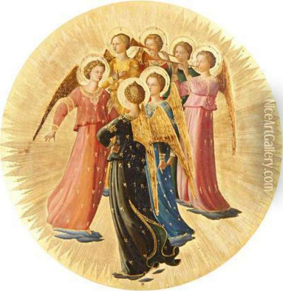 A Choir Of Angels Oil Painting - Fra Angelico (Guido di Pietro)