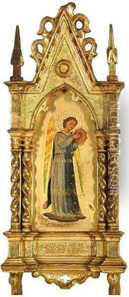 An Angel In A Blue Dress Holding A Tambourine Oil Painting - Fra Angelico (Guido di Pietro)