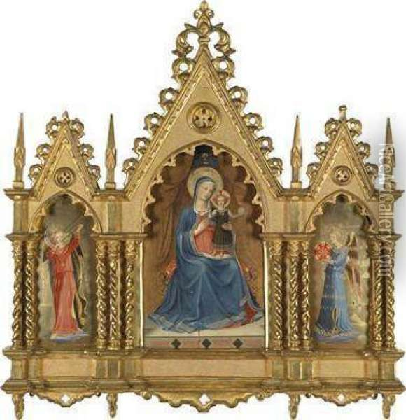 The Madonna Of The Linen Weavers Oil Painting - Fra Angelico (Guido di Pietro)