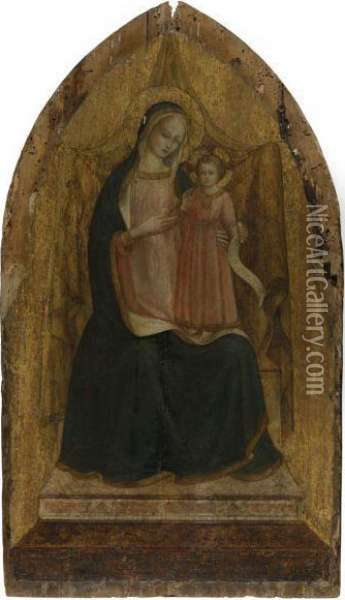 The Madonna And Child Enthroned Oil Painting - Fra Angelico (Guido di Pietro)