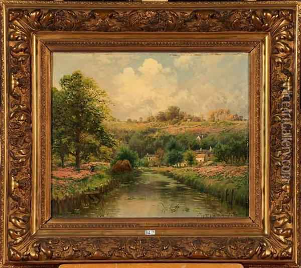 Paysage Aux Bruyeres Anime Oil Painting - Gaston Anglade