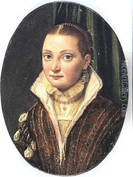 Portrait Of Sofonisba Anguissola, Half Length, Wearing A Red Doublet Over A Cream Shirt, With Blue Pearl-drop Earings Oil Painting - Lucia Anguissola