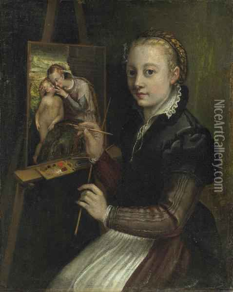 Self Portrait Oil Painting - Sofonisba Anguissola