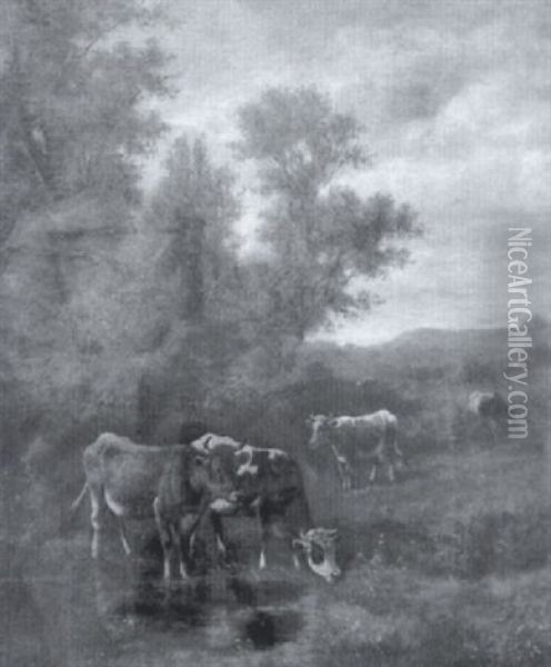 Pastoral Landscape With Cows In River Oil Painting - Thomas Bigelow Craig