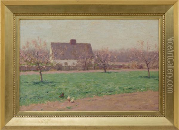 Farm Landscape With House, Chickens And Blossoming Apple Trees Oil Painting - Bruce Crane
