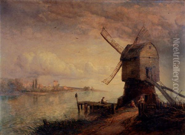 The Wind Mill Oil Painting - Thomas Creswick