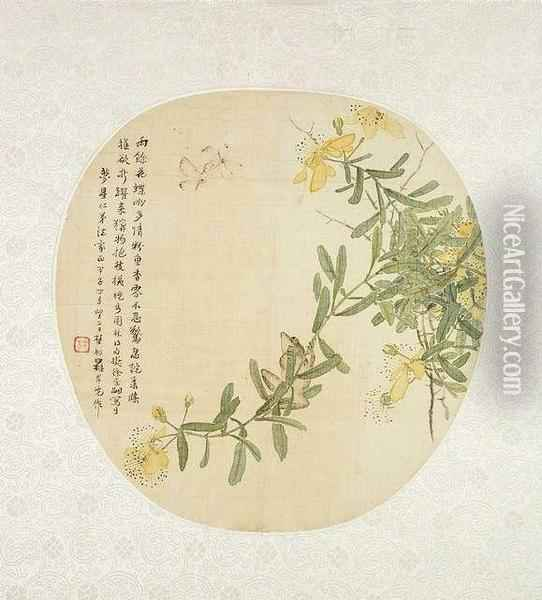 Flowering Twig With Insects And Frog. China, Dated 1864, Fan Painting With Silk Mounting, Ink And Colours On Silk, Poetic Inscription And Dedication, Signed Luo Anxian, One Seal Of The Artist - Good Condition Oil Painting - Lio Anxian