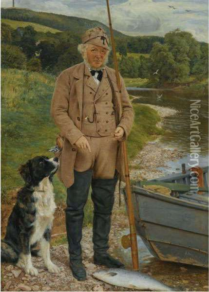 Robert Kerss, Gamekeeper And Fisherman At Mounteviot Oil Painting - James Archer