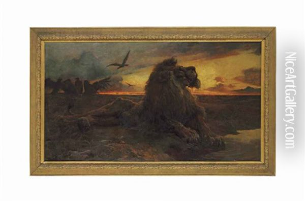 The Dying Lion Oil Painting - Herbert Thomas Dicksee