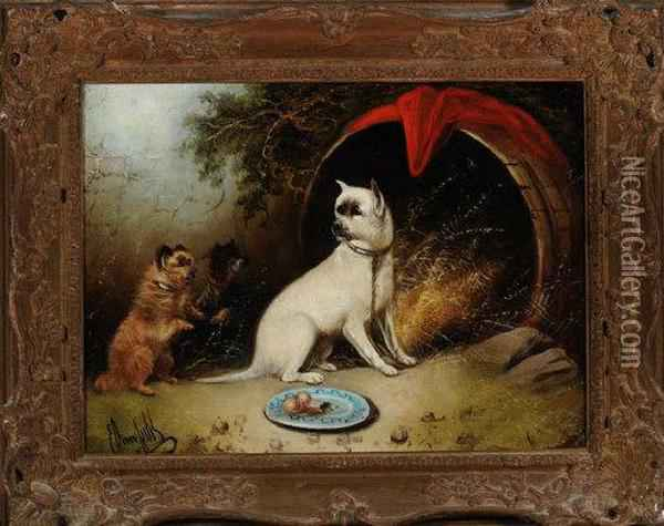 Three Dogs By An Upturned Barrel Oil Painting - George Armfield