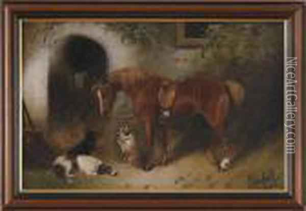 Horse With Three Dogs Oil Painting - George Armfield