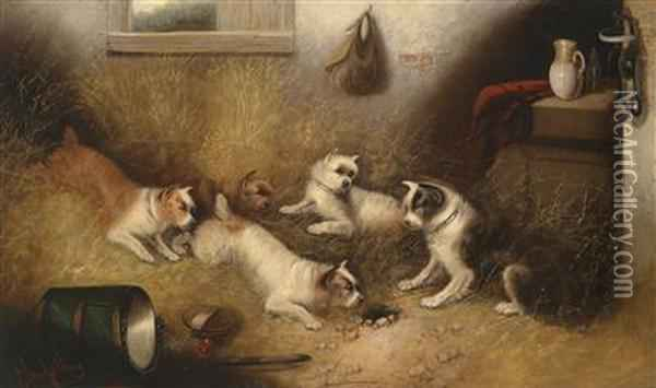 Dogs Guarding A Mousehole Oil Painting - George Armfield