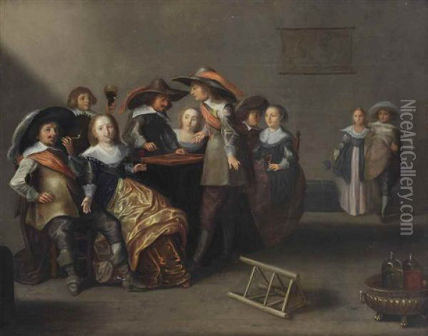 An Interior With An Elegant Company Playing Backgammon Oil Painting - Herman Mijnerts Doncker
