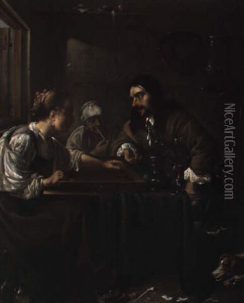 A Man And A Woman Playing Backgammon; A Woman Smoking Behind Oil Painting - Jacob Duck
