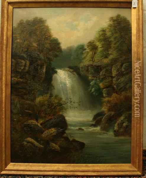 Figures Fishing Beside Waterfalls Oil Painting - Joseph W.Yarnold