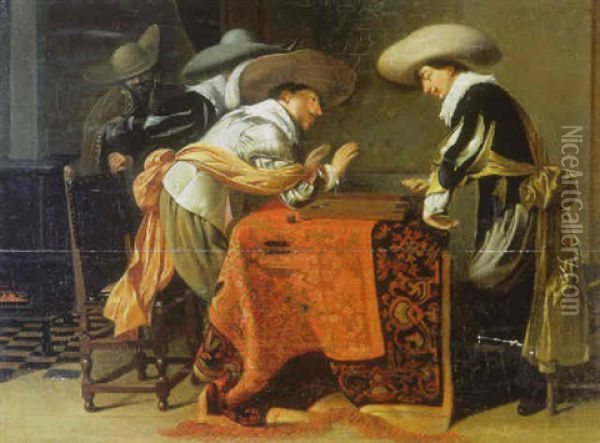 Soldiers Playing Backgammon At A Table With An Oriental Rug Oil Painting - Willem Cornelisz Duyster