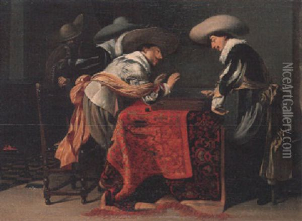Soldiers Playing Backgammon Oil Painting - Willem Cornelisz Duyster