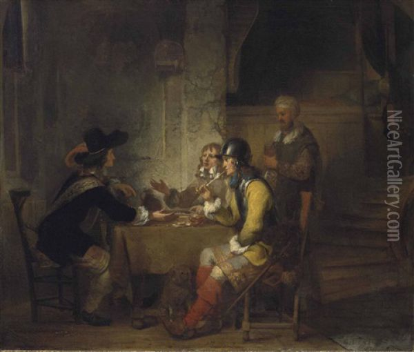 Soldiers Seated Around A Table Playing Backgammon Oil Painting - Gerbrand Van Den Eeckhout