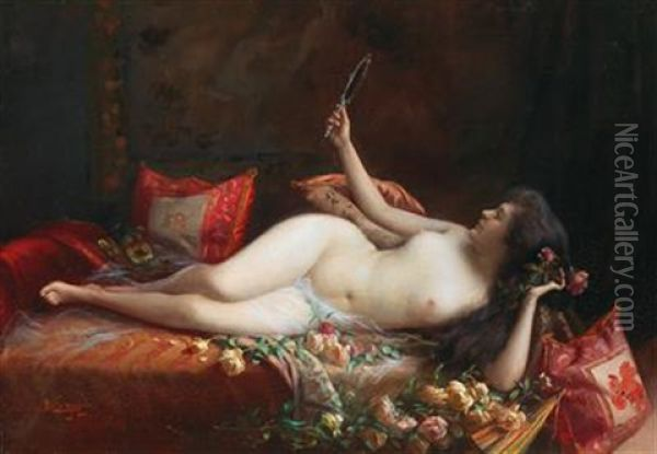 On A Bed Of Roses Oil Painting - Delphin Enjolras