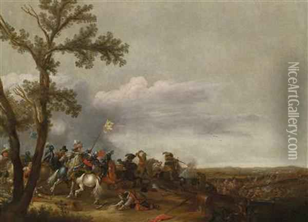 A Cavalry Engagement Oil Painting - Jan Asselyn