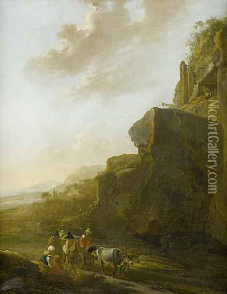 A Rocky Landscape With Four Figures Conversing In The Foreground Oil Painting - Jan Asselyn