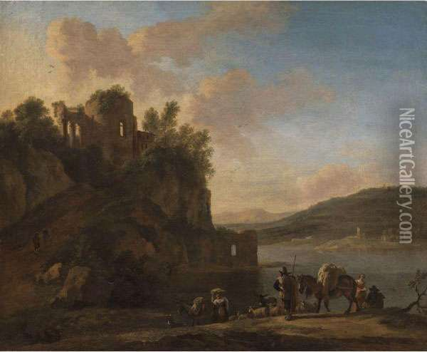 An Italianate River Landscape With Herders On A Path With Their Flock And Donkeys, Classical Ruins On A Hilltop Beyond Oil Painting - Jan Asselyn