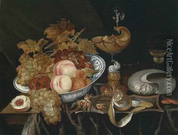 A Magnificent Still Life With A Bowl Of Fruit Oil Painting - Bartholomeus Assteyn