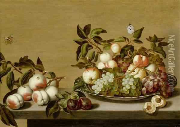 Fruit Still Life In A Porcelain Bowl On A Table With Insects. Oil Painting - Bartholomeus Assteyn
