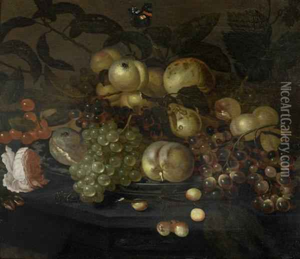 Still Life With Fruit And Flowers,butterflies And Insects Oil Painting - Bartholomeus Assteyn