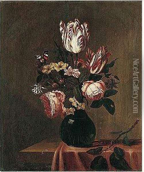 A Still Life Of Tulips, Roses, Hyacinths And Other Flowers, With A Red Admiral Butterfly, Arranged Upon A Table-top Partly Draped With A Red Cloth Oil Painting - Bartholomeus Assteyn