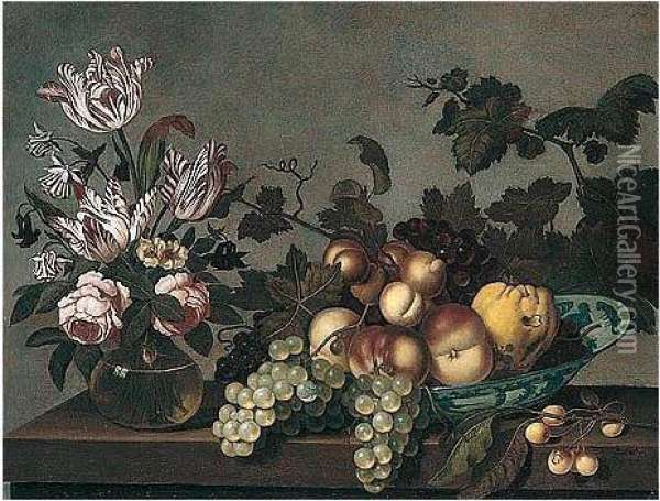 Still Life Of Peaches, Grapes And A Pear In A Blue And White Porcelain Bowl, Together With Variegated Tulips And Roses In A Glass Vase, Arranged Upon A Stone Ledge Oil Painting - Bartholomeus Assteyn