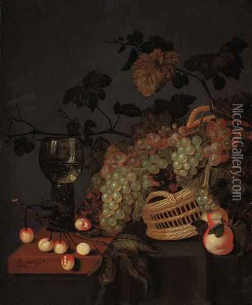 A Basket With Grapes, A Roemer And Cherries On A Partly Drapedledge Oil Painting - Bartholomeus Assteyn