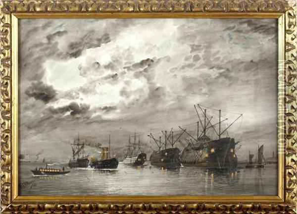 A Fleet Of Ships In Harbour Oil Painting - William Edward Atkins