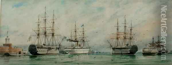 View At Portsmouth Showing H.m.s. Duke Of Wellington Oil Painting - William Edward Atkins