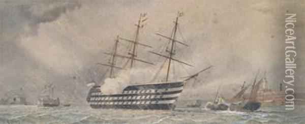A Warship And Other Vessels In Portsmouth Harbour Oil Painting - William Edward Atkins