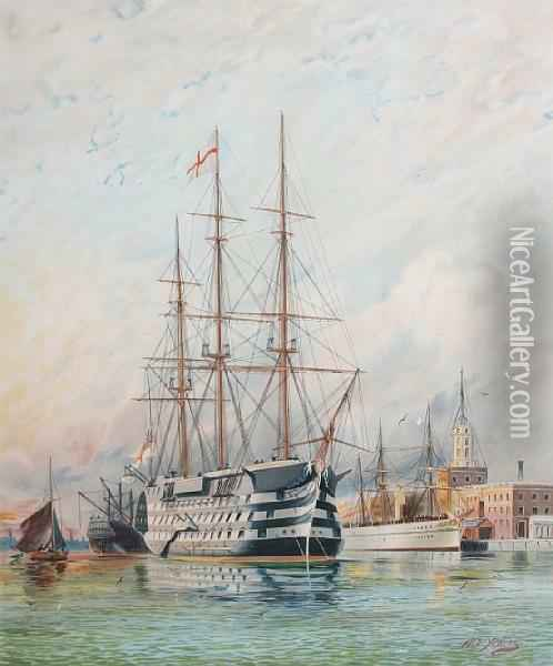 H.m.s.victory Oil Painting - William Edward Atkins