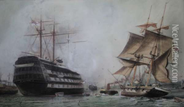 Hms Victory And Other Vessels At Portsmouth Oil Painting - William Edward Atkins