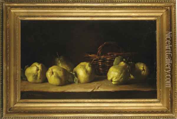 Still Life Of Quinches And A Basket On A Ledge Oil Painting - Antoine Ferdinand Attendu