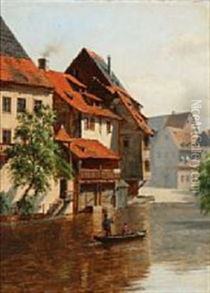 Canal Scene From Nuremberg Oil Painting - August Fischer