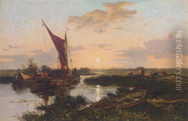 Sunset Near Lichfield Oil Painting - Alexander Fraser the Younger