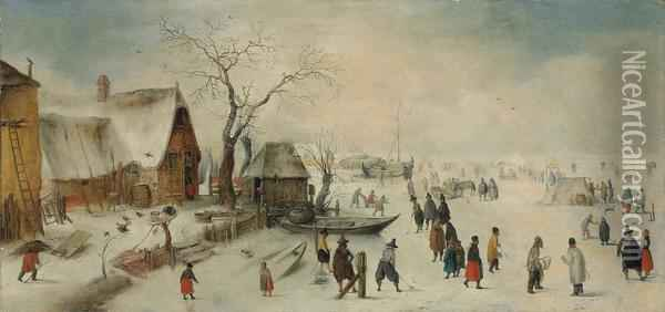 A Winter Landscape With Skaters Oil Painting - Hendrick Avercamp