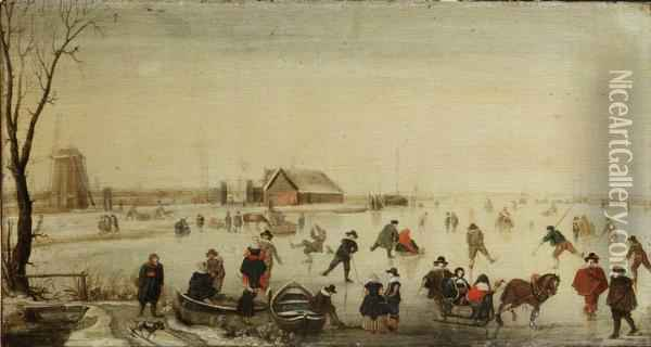 A Winter Landscape With Skaters On A Frozen River Oil Painting - Hendrick Avercamp