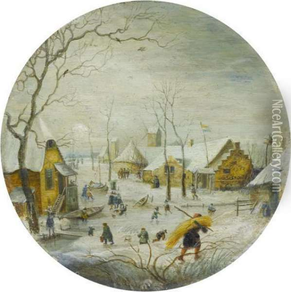 Winter Landscape With Frozen River Oil Painting - Hendrick Avercamp